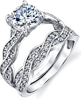 Metal Masters Co. Sterling Silver 925 1.5 ct Infinity Cubic Zirconia Wedding Band Engagement Ring...