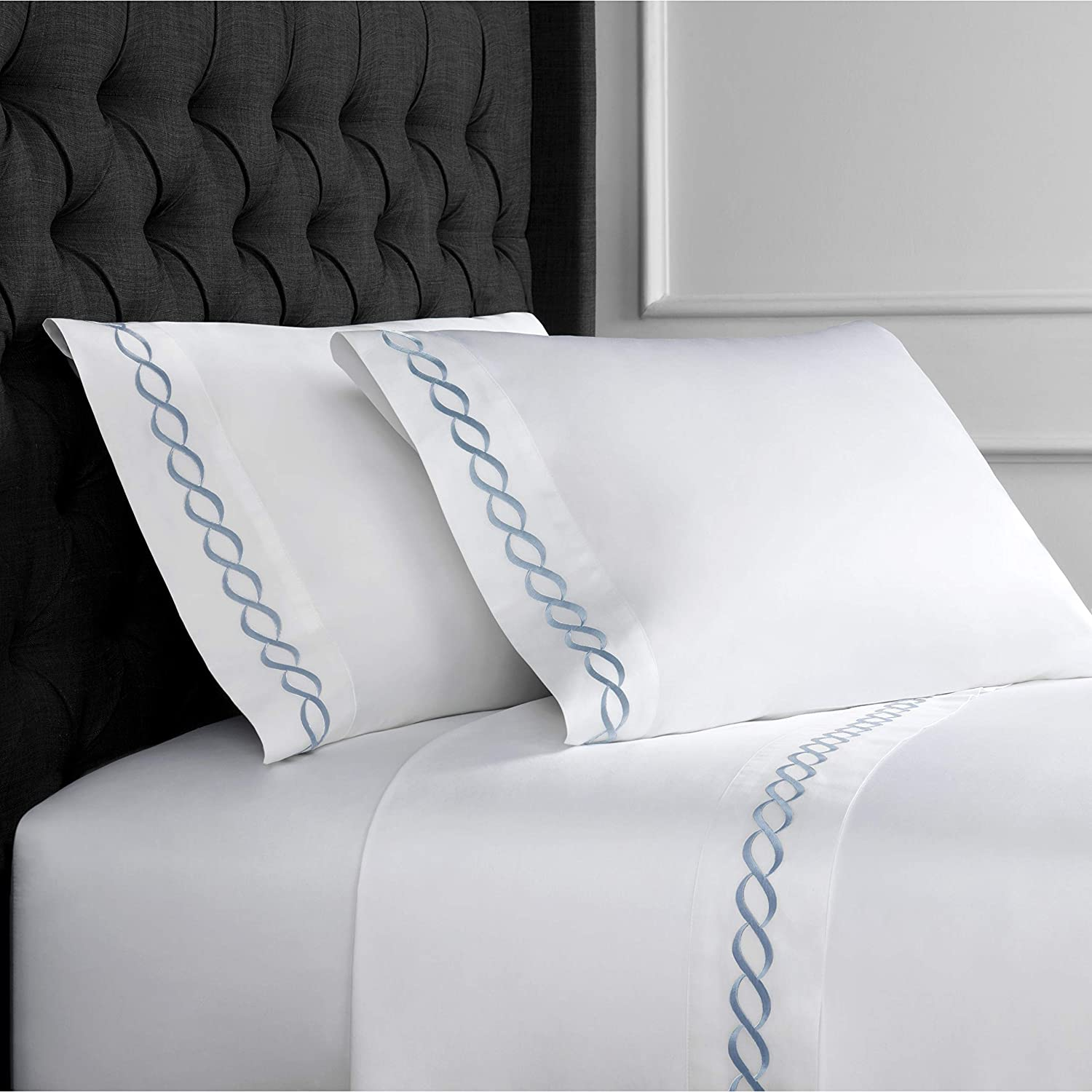 Melange Home Home Sweet Home Collection 600 Thread Count Cotton Rope Embroidery Bed Sheet Set Blue King