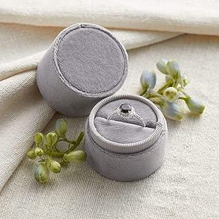 Velvet Ring Box Soft Gray, Round Shape, Engagement Ring Box, Ring Bearer Box, Wedding Ring Box, Wedding Photo Shoot, Engagement Photo Shoot, Bridal Gift