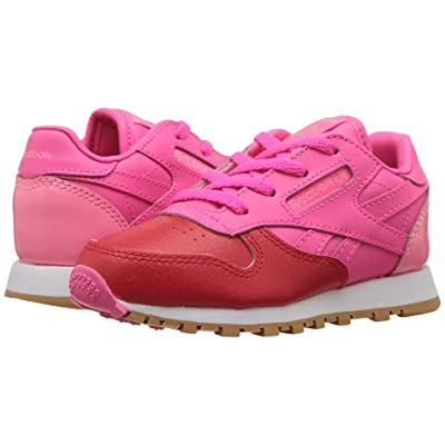 Reebok Kids Classic Leather (Infant/Toddler) (Primal Red/Solar Pink/Peppy Pink/White) Girls Shoes
