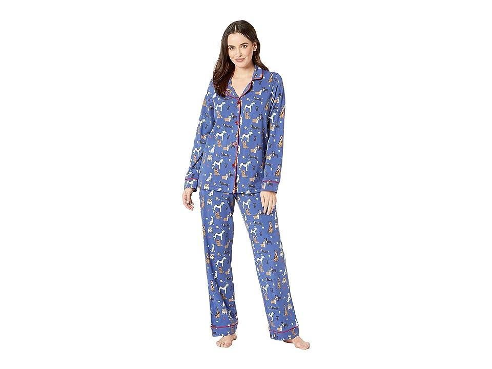 BedHead Pajamas Long Sleeve Classic Notch Collar Pajama Set (Dog Park) Women