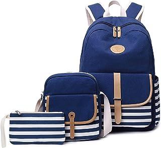 School Backpack, 3-Pcs Canvas Laptop Backpacks Book Bag Set Lightweight Canvas Backpack for Teen Girls Boys