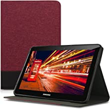 kwmobile Case for Samsung Galaxy Tab 2 10.1 P5100/P5110 - PU Leather and Canvas Protective Cover with Stand Feature - Black/Brown Red 41184.03