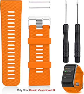 Garmin Vivoactive HR Watch Band Replacement, Rukoy Silicone Wristband Smartwatch Bracelet For Garmin Vivoactive HR Fitness Watch(Orange)