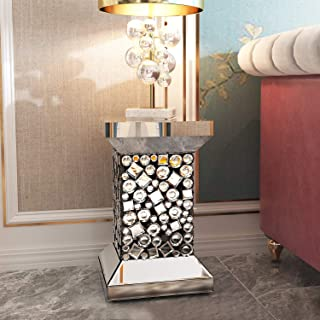 Mirrored Pedestal Side Table, Simple Design Modern Accent Side Table for Bedroom, Living Room, Office, Hallway, Entryway