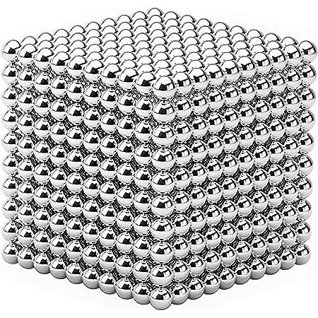 YOIKO マグネットボール 立体パズル 直径5mm 教育工具 DIY工具 脳開発 ストレス解消 おもちゃ シルバー (銀色1000個 高級版)