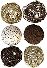 Blue Donuts Decorative Balls for Bowls – Decorative Balls for Centerpiece Bowl Fillers, Assorted Rattan Wicker Balls Orb...