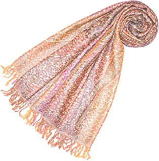 Lorenzo Cana Luxus Wollschal Seidenschal Damenschal Schaltuch Schal jacquard gewebt Flieder Naturfasern Apricot Gelb 50% Wolle 50% Seide 78581