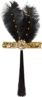 Forum Novelties Roaring 20's Sequin Flapper Headband with Feather - Multi - One Size Gold