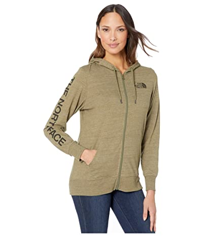 The North Face Lightweight Tri-Blend Full Zip Hoodie (Burnt Olive Green Heather) Women