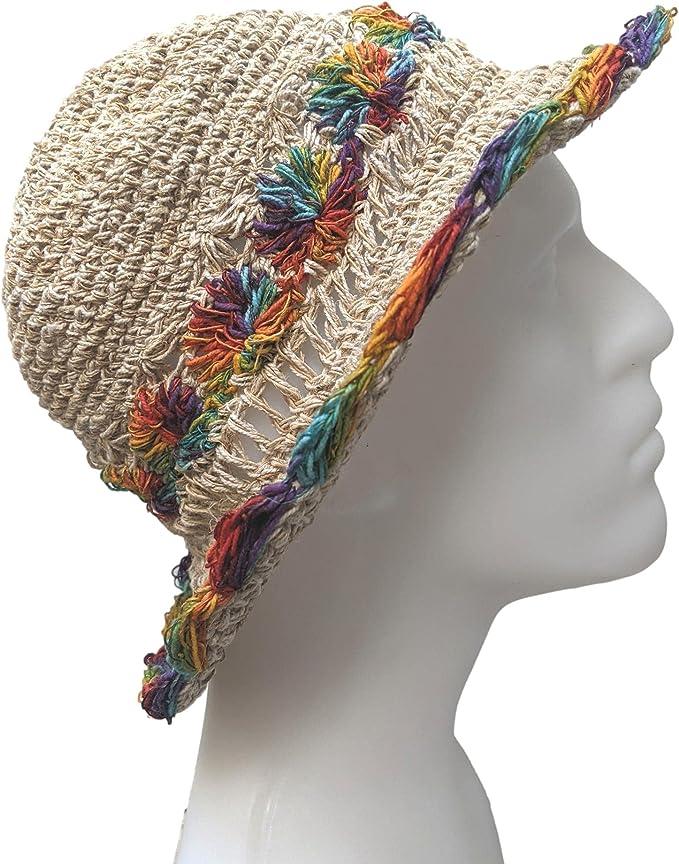 Hippie Hats,  70s Hats Equal Earth Rainbow Pride Hemp Bucket Hat Floppy Hat Summer Hat Festival Hidden Safe Pocket Hippy Boho Fair Trade Sun Handmade in Nepal  AT vintagedancer.com