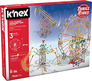 K'NEX 17035 Thrill Rides 3-in-1 Classic Amusement Park Building Set, 744 Piece Kids Building Set for Creative Play, Hours ...