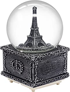 Nice Pies Silver Paris Snow Globe, Eiffel Tower Snow Globe Souvenir, Exclusive Paris Snow Globes Collection Square, Delightful Quality Musical Box - 100MM