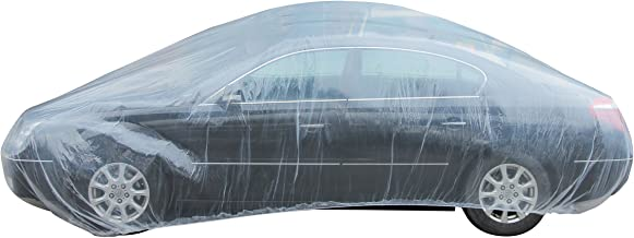 TopGreen Plastic Car Cover with Elastic Band Clear Disposable Car Cover Waterproof Medium Size Universal Fit 21-Feet by 12.5-Feet