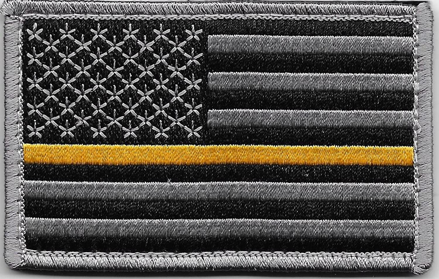 Thin Gold Line US Flag Patch for Emergency Dispatchers with Hook/Loop Backing