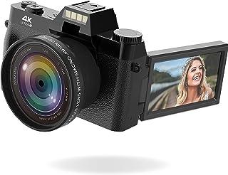 Vlogging Camera, 4K Digital Camera for YouTube with WiFi, 16X Digital Zoom, 180 Degree Flip Screen, Wide Angle Lens, Macro...