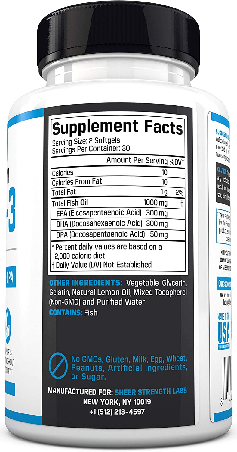 Fish Oil Omega 3 DHA Supplement - Triple Strength Fish Oil Burpless & Organic - Supports Joint Health & Post Workout Recovery - Lemon Flavored Supplements with Triglyceride, DPA, EPA