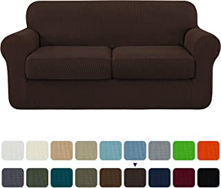 subrtex High Stretch Jacquard Loveseat Slipcover with 2 Separate Cushion Common Couch Sofa Cover Coat for 2-Seater Conventional Settee Spandex Washable Furniture Protector (Medium, Chocolate)