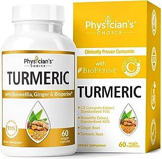 Organic Turmeric Curcumin C3 Complex - Bioperine Black Pepper, Boswellia & Ginger (Clinically Proven C3 Turmeric) 95% Stan...