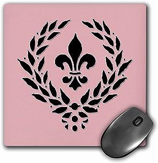 """3D Rose""""Fleur De Lis. French Decor. Pink And Black."""" Matte Finish Mouse Pad - 8 x 8"""" - mp_220677_1"""