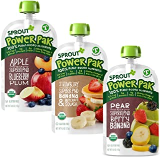 Sprout Organic Baby Food Toddler Power Pak Pouches Stage 4, Superblend Tropical Fusion, Strawberry Banana Butternut, & App...