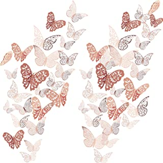 72 Pieces 3D Butterfly Wall Decals Sticker Wall Decal Decor Art Decorations Sticker Set 3 Sizes for Room Home Nursery Classroom Offices Kids Girl Boy Bedroom Bathroom Living Room Decor (Rose Gold)