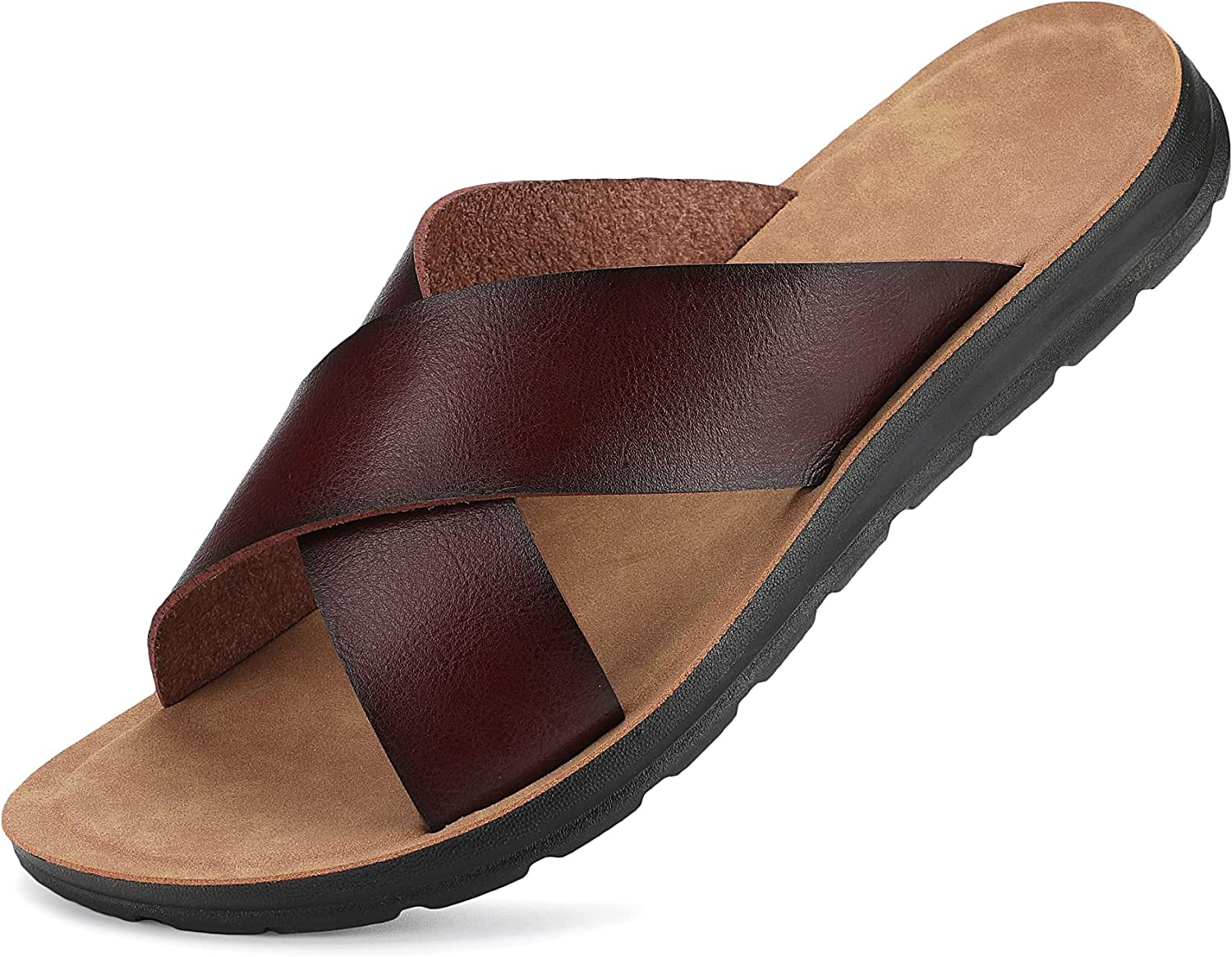 PHEFEE Men's Sandals New life Cross Slides Soft Charlotte Mall Footbed Comfort Cushion A