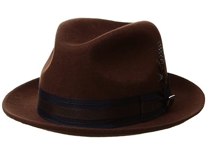 Stacy Adams Pinch Front Wool Fedora (Brown) Fedora Hats