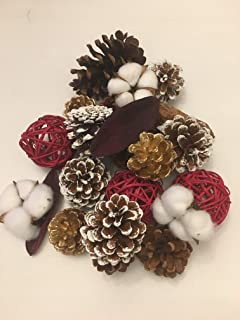 Winter Pine Cones and Twig Ball Vase Filler for Decorating Christmas Bowl Fillers use as Centerpiece or Mantle Decorations Red White Gold and Natural Color