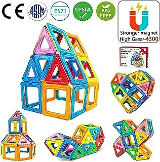 Jasonwell 42Pcs Magnetic Tiles Building Blocks Set for Boys Girls Preschool Educational Construction Kit Magnet Stacking T...