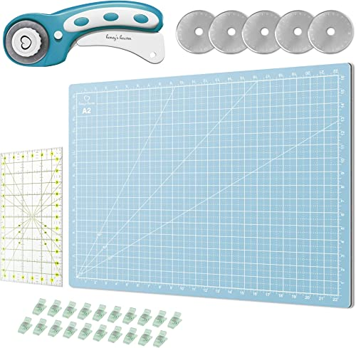 Rotary Cutter Set Turquoise - Quilting Kit incl. 45mm Rotary Cutter, 5 Replacement Blades, A2 Cutting Mat, Acrylic Ru...