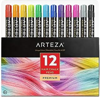comprar comparacion Arteza Tinte temporal de tiza para el pelo | 12 colores de tinte lavable para el cabello | Mechas temporales de colores vi...