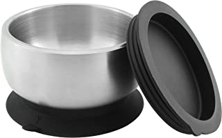 Avanchy Baby Feeding Stainless Steel Spill Proof Stay Put Suction Bowl + Air Tight Lid - Great Baby Gift Set. Black