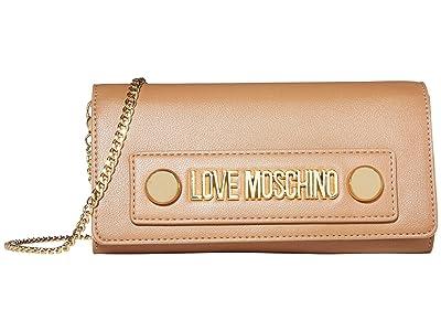 LOVE Moschino Love Log Stud Chain Wallet (Camel Small Grain PU) Handbags