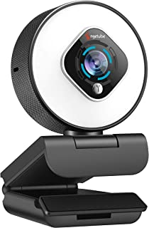 Streaming Webcam with Ring Light-1080P Web Camera with Microphone,Plug and Play, Autofocus USB Camera with Digital Zoom