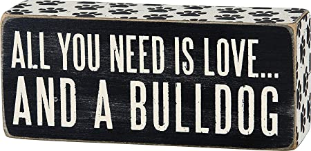 Primitives by Kathy Paw Print Trimmed Box Sign, 2.5-Inch by 6-Inch, Bulldog