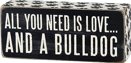 لافتة صندوق مزينة بطباعة مخالب من Primitives by Kathy Paw مقاس 6.35 سم في 15.24 سم، مطبوع عليها كلب بولدوج
