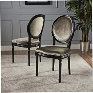 Wood & Style Furniture Camille Traditional New Velvet Dining Chairs (Set of 2), Grey/Gloss Black Home Office Commerial Heavy Duty Strong Décor