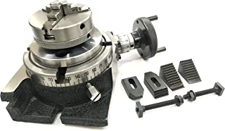 """MILLING INDEXING 4""""/ 100 ROTARY TABLE QUALITY PRECISION HORIZONTAL VERTICAL WITH SUITABLE M6 CLAMP KIT & SMALL CHUCK (WITH 65 MM 3 JAWS SELF CENTERING CHUCK)"""