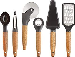 Glad Kitchen Gadget Set with Acacia Wood Handles, 6 Pieces | Black with Stainless Steel Blades | Utensil Tools for Cooking...