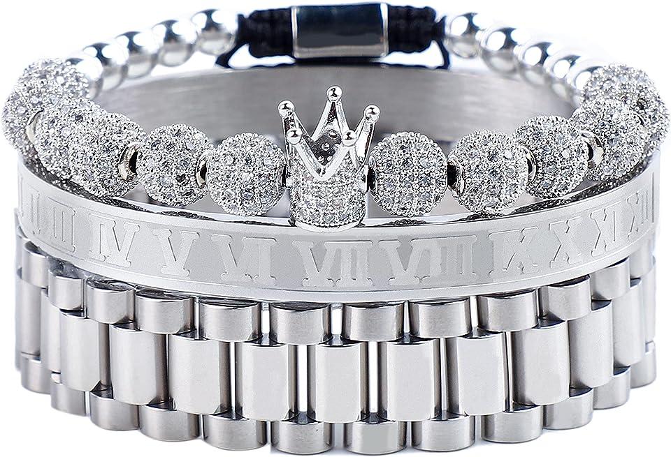 MUYASEA 8mm Beads Charm Bracelets King Crown Fashion Bangle Sets for Men Women