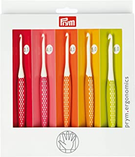 Prym Crochet ergonomique pour laine 3,50-6,00 mm x 1 lot de crochets multicolores, taille unique