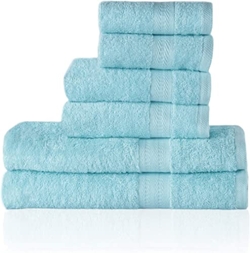 Trends Alley Eclat – Luxury, 100% Combed Cotton Towel Set (6 Pieces, 4 Colours), 500 GSM, Includes 2 Face Towels, 2 H...