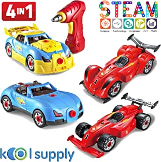 4 in 1 Assembly Racing Car w/ Power Drill & Screw. DIY Take Apart Model Vehicle w/ Sounds & Lights. Build your own Construction Engineering STEM Educational Learning Toy for age 3 4 5 6 7 8 9 boy girl