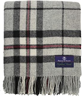 Prince of Scots Highland Tartan Tweed 100% Pure New Wool Throw ~ Grey Thompson ~