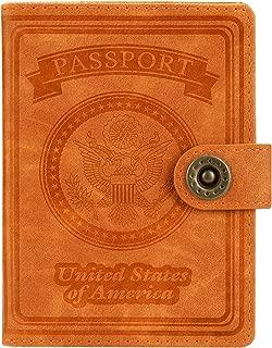 RFID Blocking Premium Case Cover Holder Wallet for Passport (T-Orange)