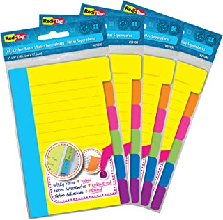 Redi-Tag Divider Sticky Notes, Tabbed Self-Stick Lined Note Pad, 60 Ruled Notes per Pack, 4 x 6 Inches, Assorted Neon Colors, 4 Pack (29504)