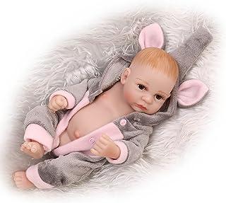 "NPK Reborn Baby Dolls Boy 10 "" Mini Full Silicone Washable Realistic Handmade Gray Elephant Outfit Newborn Baby Gift Sets ..."