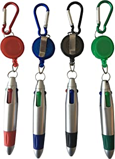 4 Ink Colors Ballpoint Pen with Retractable Reel Holder, Belt Clip and Carabiner, Silver (4)