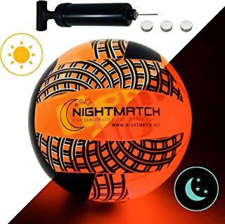 NIGHTMATCH Light Up LED Volleyball - Mesh Print Edition - INCL. Ball Pump and Spare Batteries - Inside LED Lights up When Kicked - Glow in The Dark Volleyball - Official Size & Weight